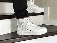 Мужские кроссовки Nike Air Force 1 (найк аир форс, кожа, белые)