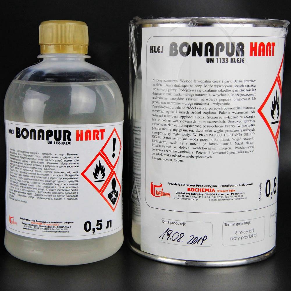 Полиуритановый термостойкий клей BONAPUR HART для кожзама, тканей, пвх, синтетической кожи, Польща 0,5л