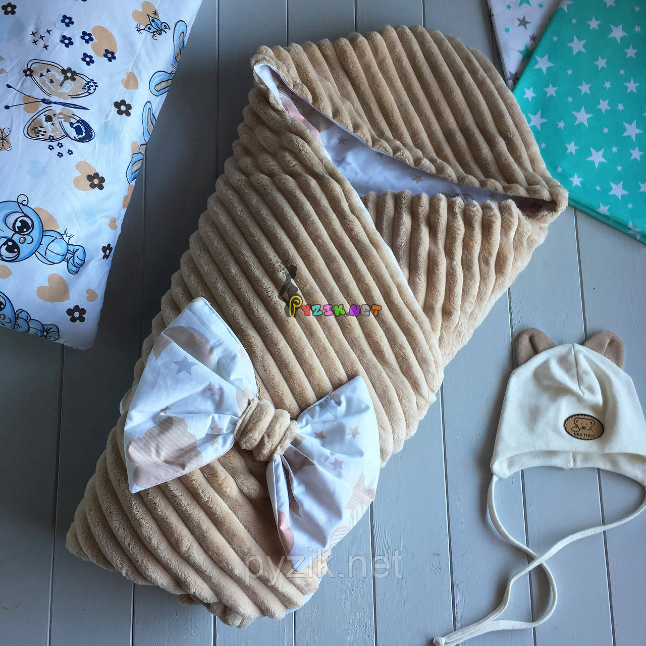 Конверт-одеяло минки на съемном синтепоне с капюшоном, коричневый