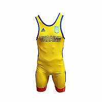 Трико борцовское Adidas UWW Ukraine Yellow/Blue
