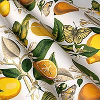 Ткань для штор с принтом птиц, лимонов и бабочек на молочном фоне
