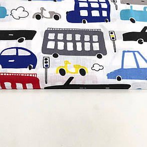 """Польская хлопковая ткань """"Машинки, автобусы, мопеды разноцветные красные, черные, голубые на белом"""", фото 2"""