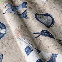 Декоративная ткань с крупными голубыми объектами морской тематики на контурной карте бежевого цвета Испания 82637v1