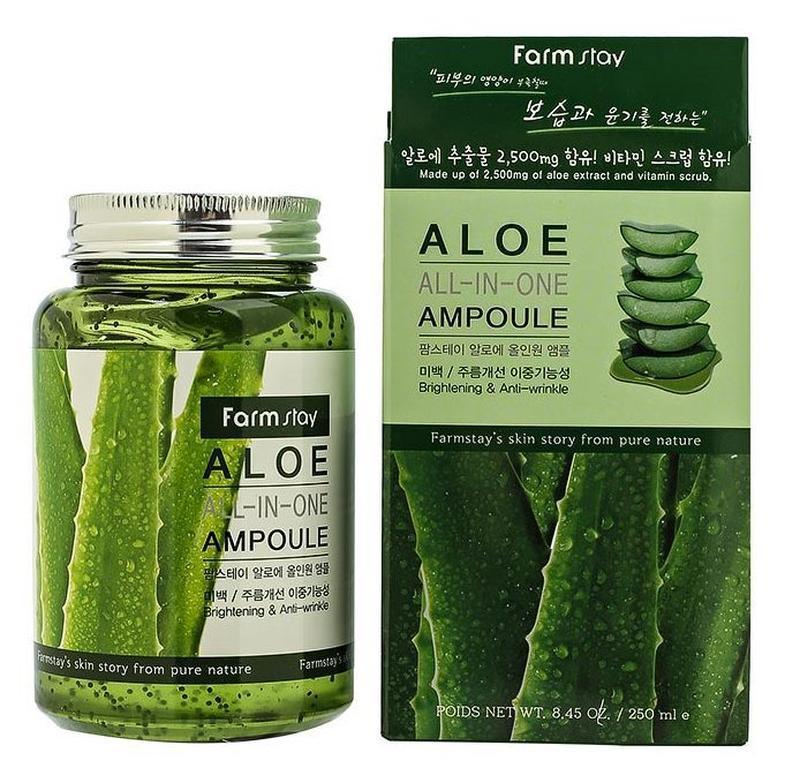 Сыворотка все в одном с алое ампульная FarmStay Aloe All In One Ampoule 250 мл