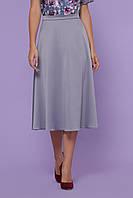 Стильная женская атласная юбка полусолнце миди №38 серая
