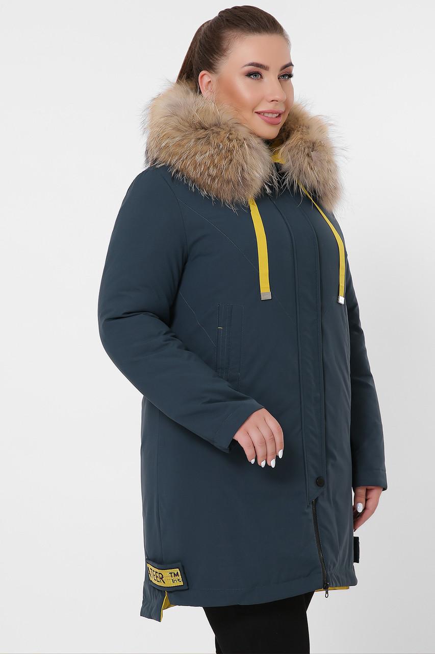 Прямая женская зимняя темно-синяя куртка большие размеры Куртка 18-115