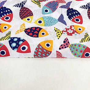 """Польская хлопковая ткань """"Рыбки разноцветные на белом"""", фото 2"""