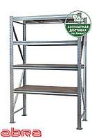 Стеллаж металлический для склада/магазина/гаража SN 2000х2450х700, оцинкованный, 4 полки ДСП, до 500 кг/ярус