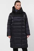 Женский длинный пуховик больших размеров со сьемным капюшоном Куртка 19-39-Б черная