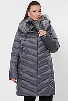 Женская короткая зимняя куртка пуховик с натуральным мехом Куртка 19-60-Б цвет графит