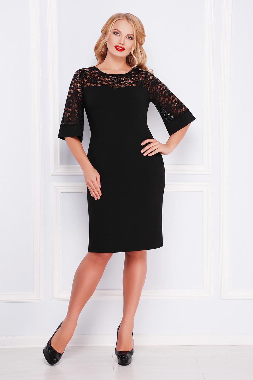 Коктейльное черное женское платье футляр с кружевом сверху и на рукавах большие размеры платье Мирина-Б к/р