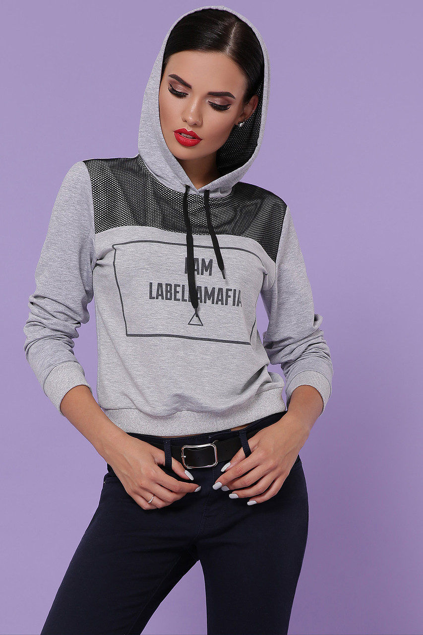 Унивесральная женская спортивная кофта с капюшоном и вставкой из сетки Labellamafia кофта Мафия д/р
