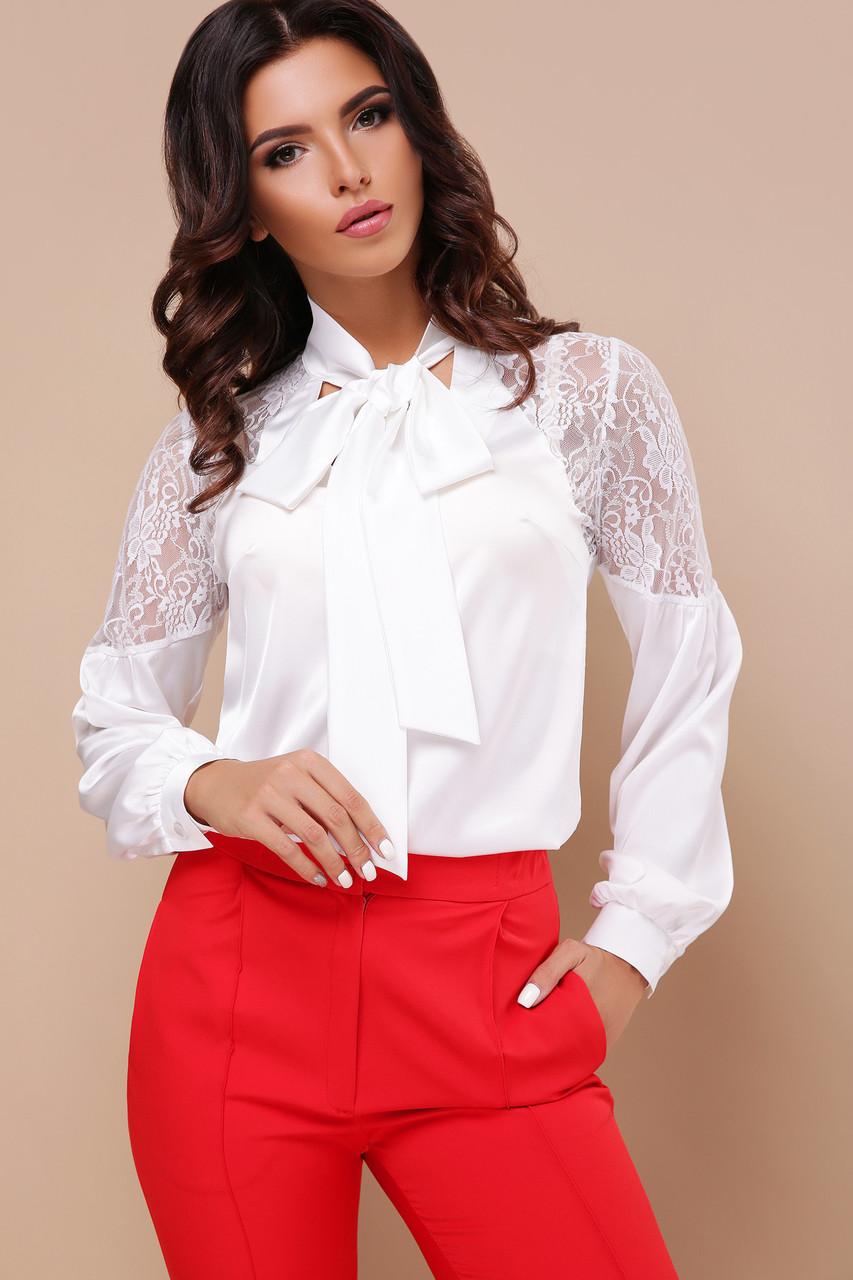 Базовая женская белая блузка прямого кроя с кружевной вставкой и бантом блуза Анастейша д/р