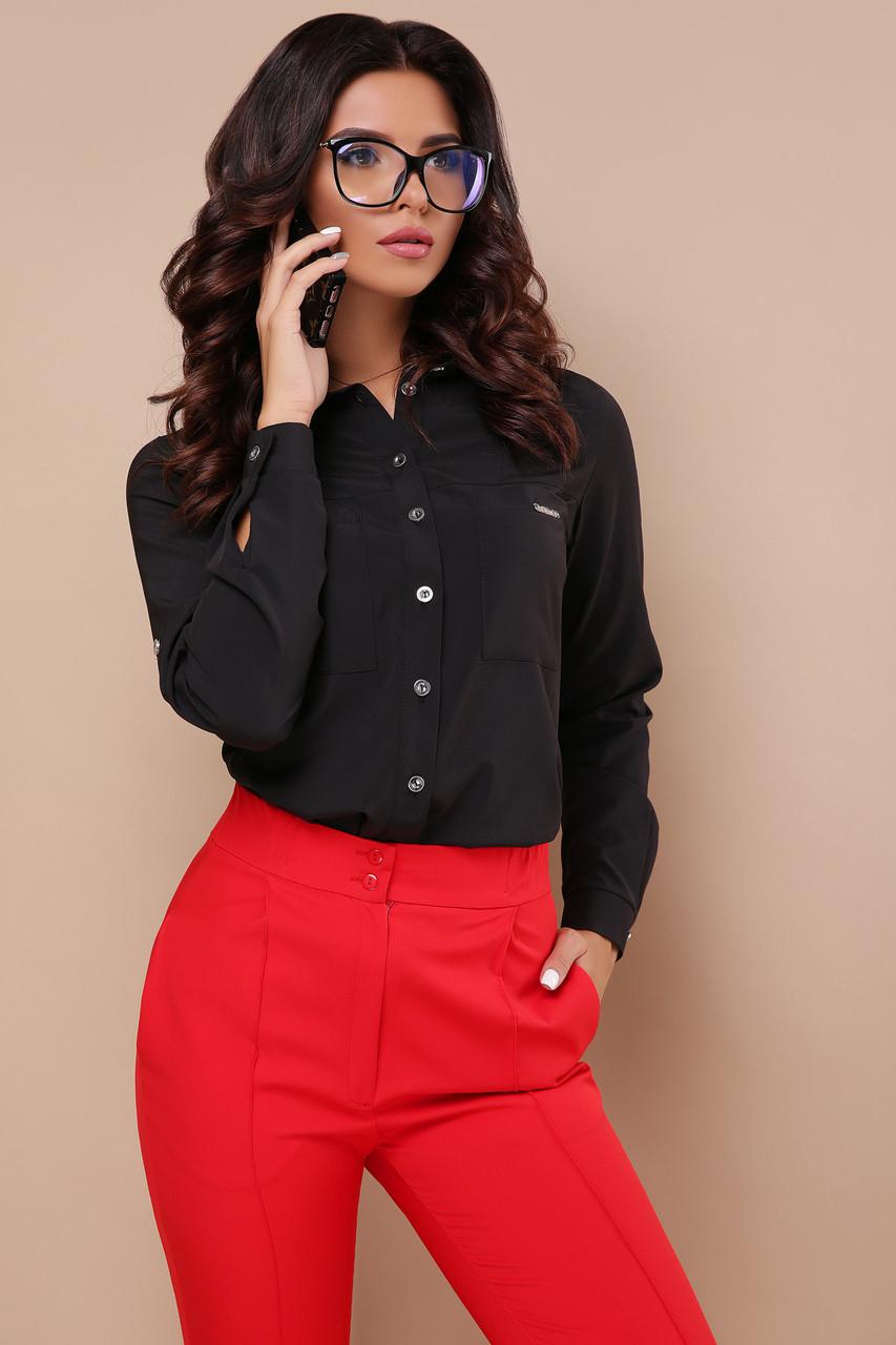 Офисная женская черная  блуза на пуговицах с карманами длинные рукава блуза Кери д/р