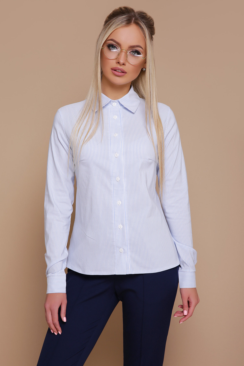 Женская строгая рубашка с длинным рукавом в голубую полоску блуза Рубьера д/р