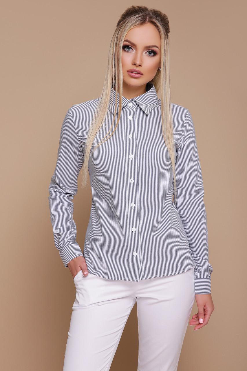 Женская строгая рубашка с длинным рукавом в серую полоску блуза Рубьера д/р