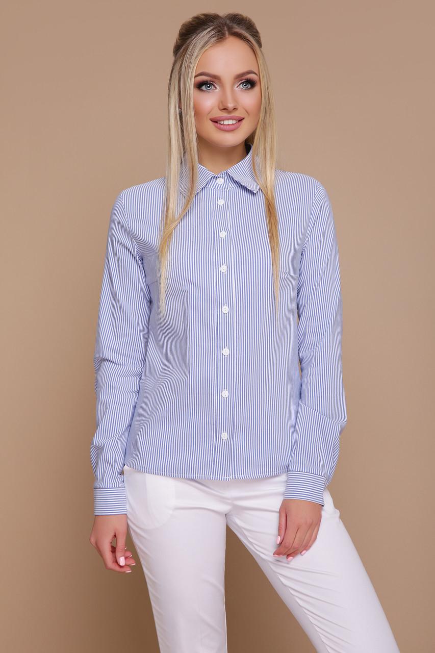 Женская строгая рубашка с длинным рукавом в синюю полоску блуза Рубьера д/р