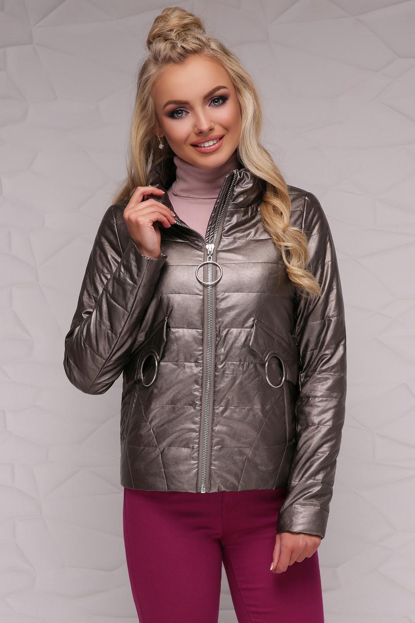 Женская короткая куртка демисезонная без капюшона на молнии цвет бронзовый Куртка 18-126