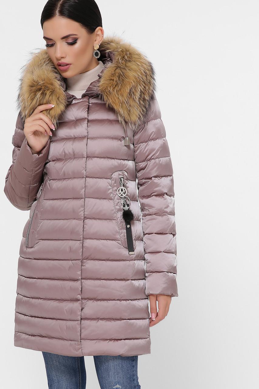 Приталенный длинный женский пуховик куртка без капюшона с мехом серо-розовый цвет Куртка 18-138