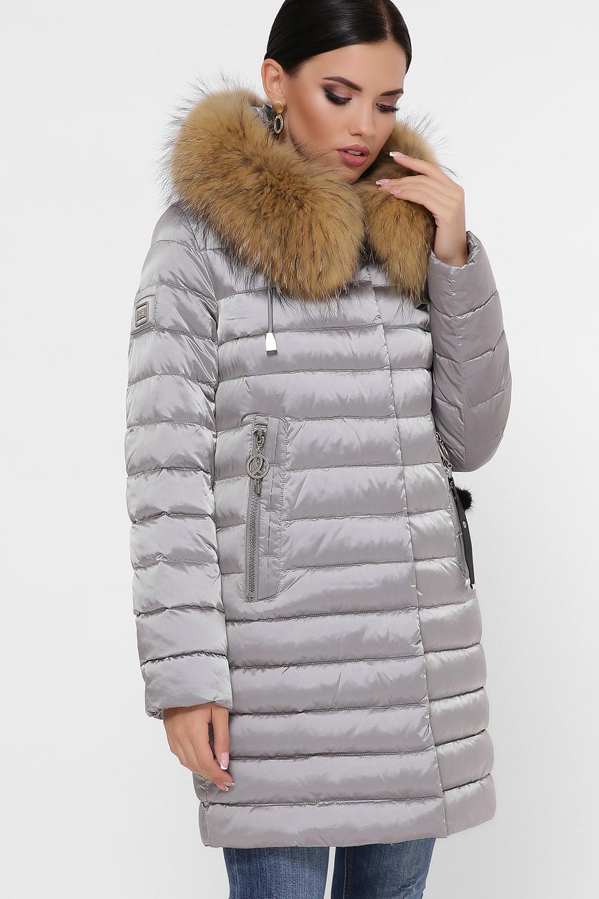 Приталенный длинный женский пуховик куртка серый цвет Куртка 18-139