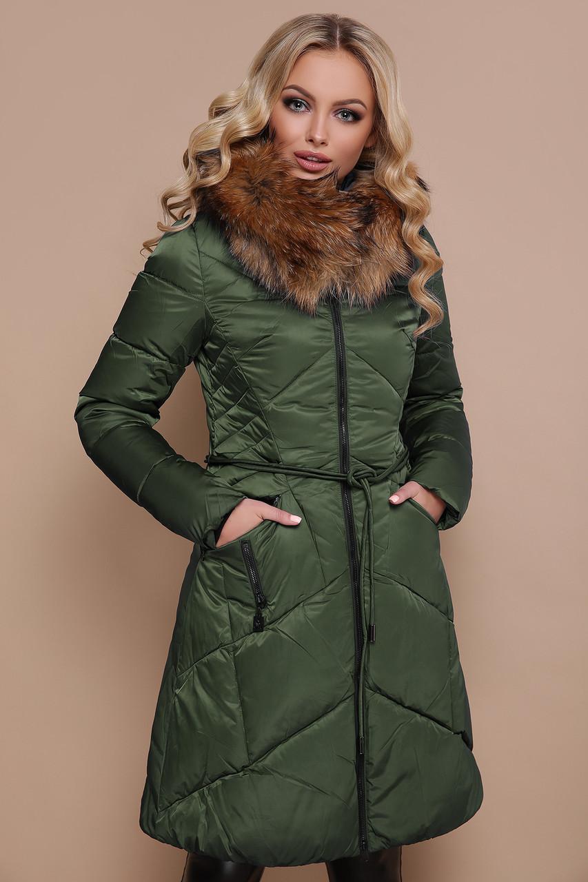 Женский молодежный зимний пуховик до колен приталенный на молнии цвет хаки Куртка 18-86