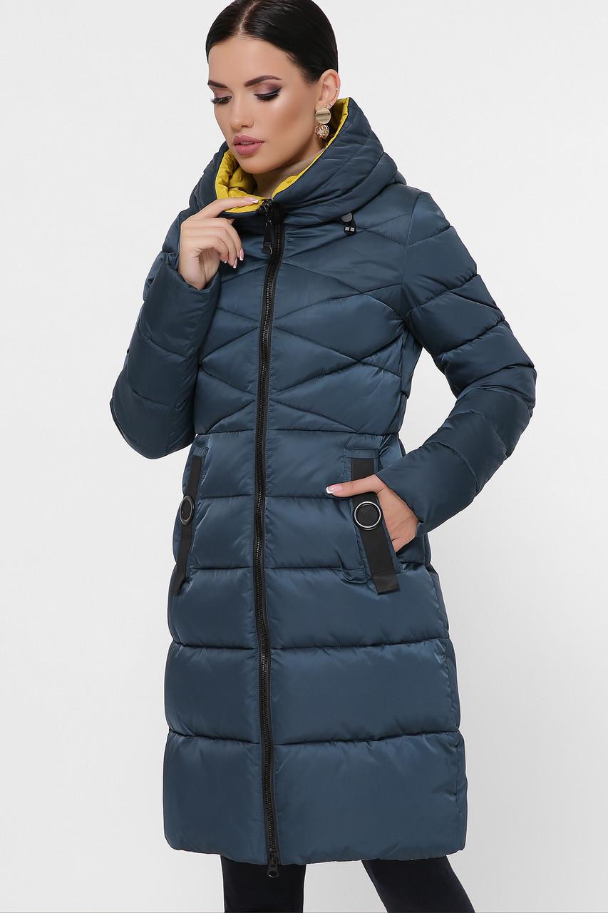 Женский теплый зимний пуховик до колен с капюшоном без меха Куртка 18120 цвет морская волна