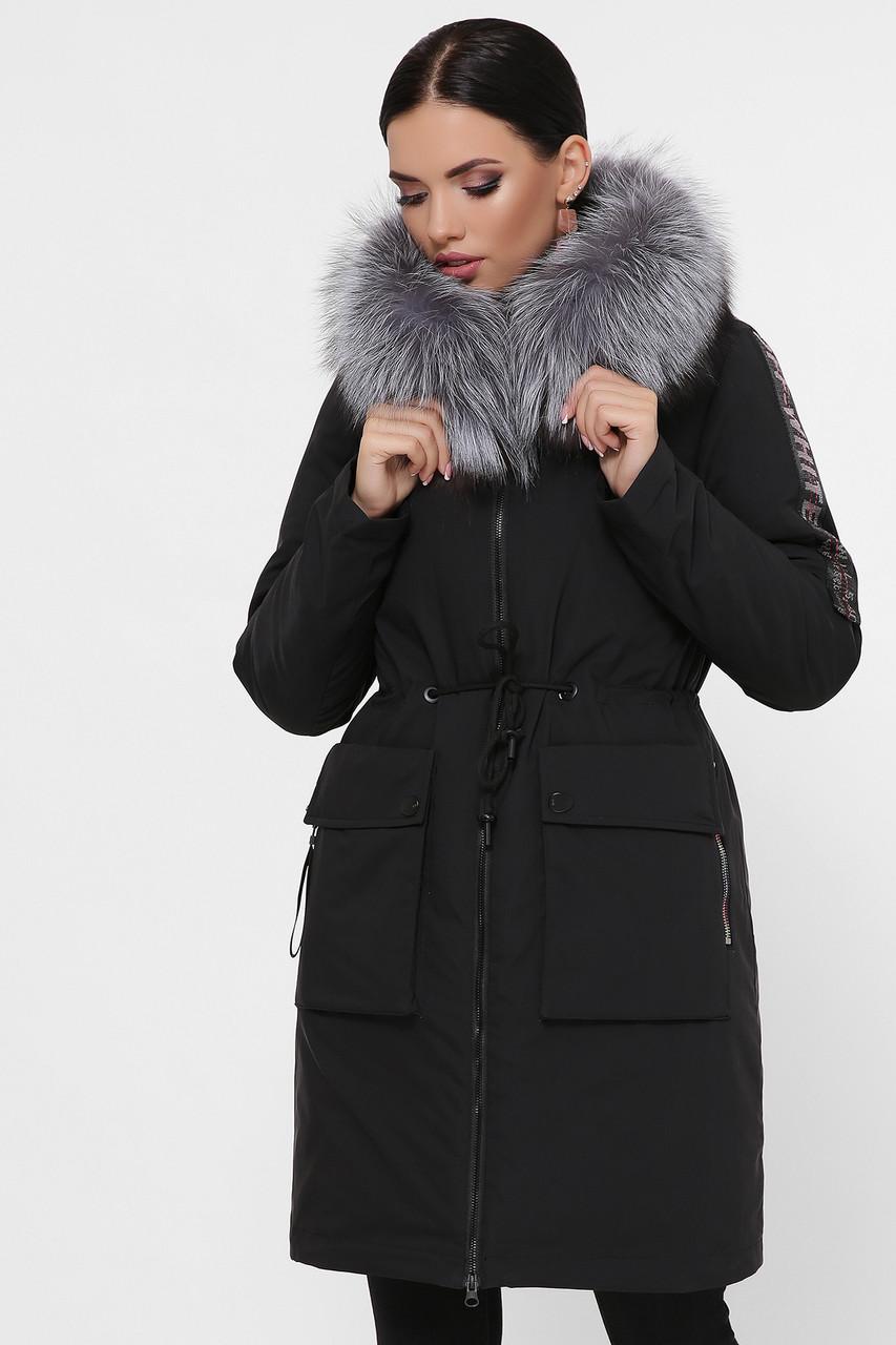 Женская теплая зимняя куртка-парка черная до колен с пояском Куртка 1874