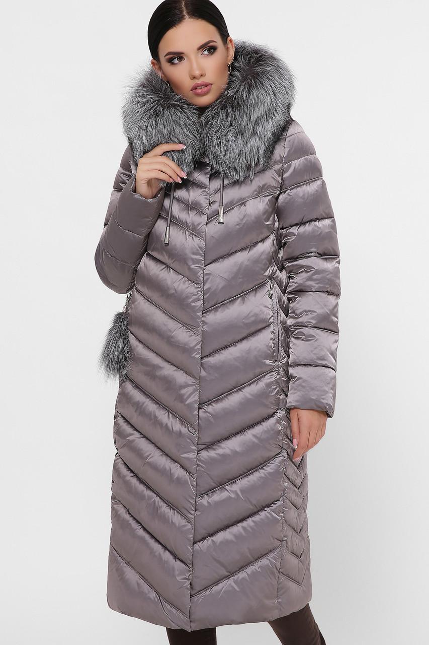 Зимний синий молодежный женский приталенный стеганый длинный пуховик  Куртка 19-61