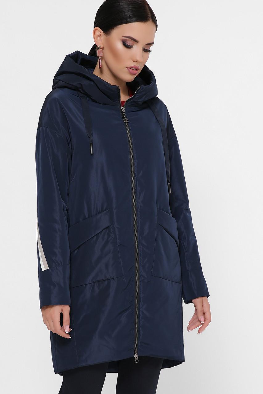 Женская прямая обьемная куртка с капюшоном и лампасами на рукавах Куртка 53 синяя