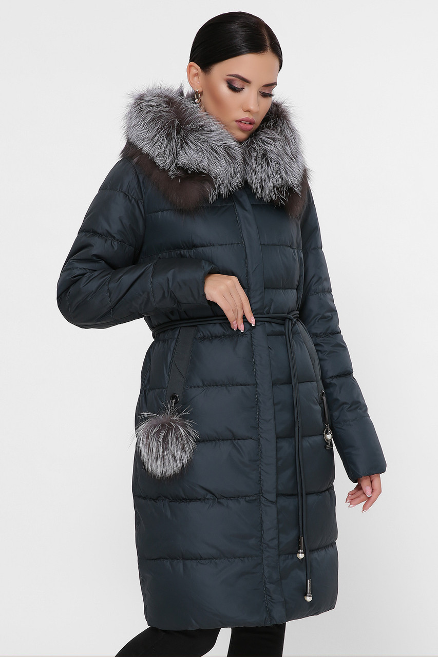 Женская черная зимняя куртка до колен с капюшоном Куртка 821