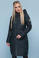 Зимняя женская длинная куртка пуховик Куртка 899 цвет изумрудный