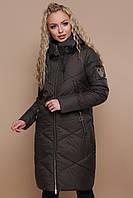 Зимняя женская длинная куртка пуховик Куртка 899 цвет хаки
