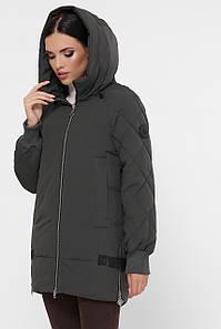 Женская стеганая зимняя серая стегная короткая куртка с асиметричным низом  Куртка М-104