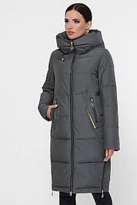 Женская длинная куртка пуховик до колен с капюшоном Куртка М-111 цвет хаки