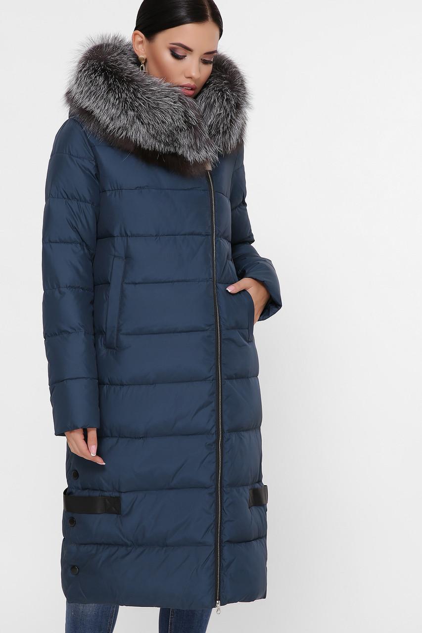 Женская длинная зимняя куртка пуховик с боковой молнией Куртка М-90 цвет морская волна