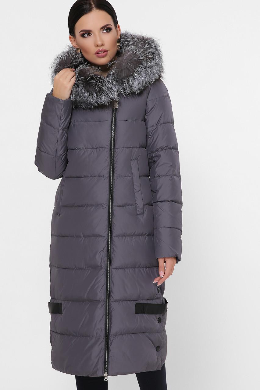 Женская длинная серая зимняя куртка пуховик с боковой молнией Куртка М-91