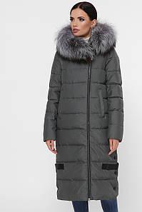 Женская длинная зимняя куртка пуховик с боковой молнией Куртка М-93 цвет хаки