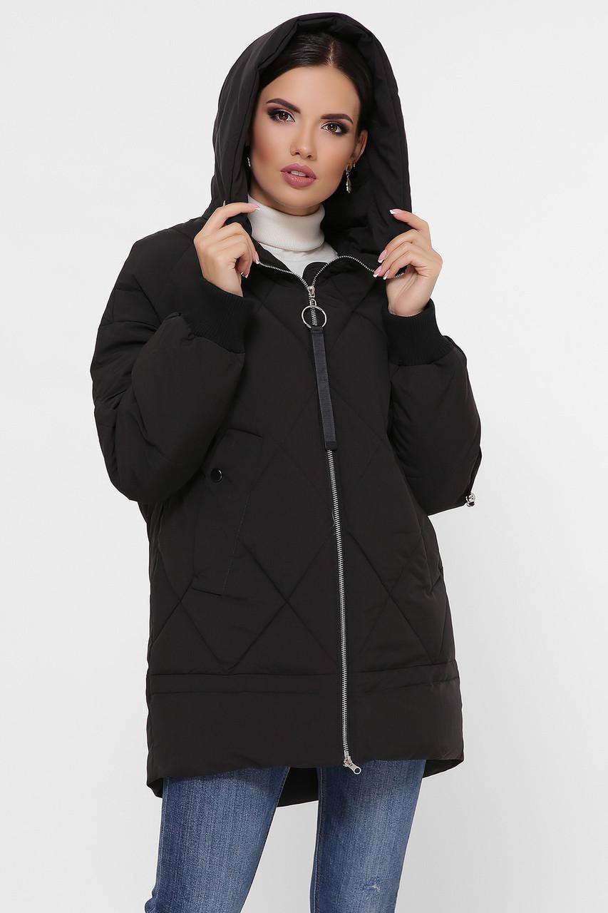 Женская стильная черная зимняя куртка с асметричным низом и капюшоном Куртка М-93