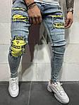 Мужские модные джинсы с латками (голубые) - Турция, фото 2