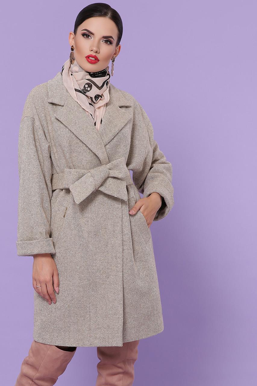 Женское универсальное корткое бежевое пальто с поясом Пальто П-300-90