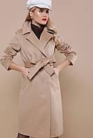 Женское бежевое однотонное пальто прямого кроя до колен Пальто П-323-100