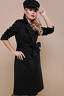 Женское  черное пальто прямого кроя до колен Пальто П-323-100