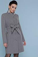 Женское короткое серое пальто без воротника с пояском Пальто П-333