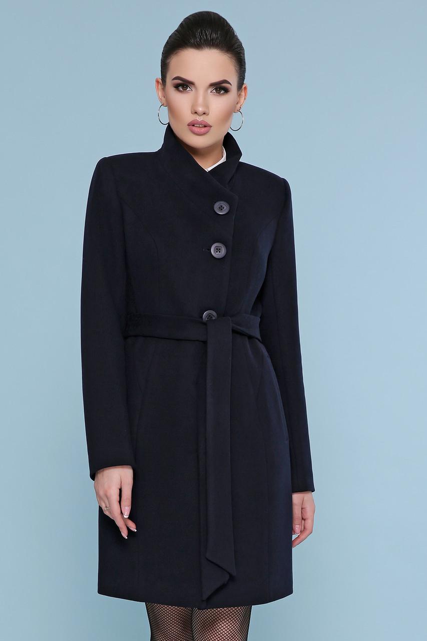 Женское короткое темно-синее пальто без воротника с пояском Пальто П-333