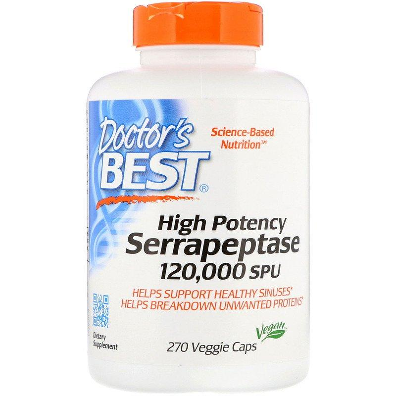 "Серрапептаза Doctor's Best ""High Potency Serrapeptase"" 120000 SPU, усиленная (270 капсул)"