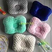 Двухсторонняя подушка-бабочка ортопедическая минки/хлопок, цвет на выбор