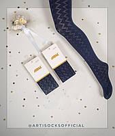 Синие капроновые колготки для девочек TM Katamino оптом, Турция р.11-12 (146-152 см)