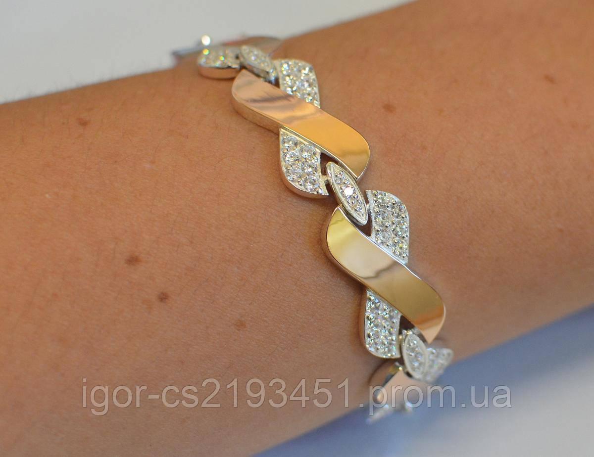 Серебряный браслет с накладками из золота