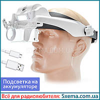 Бинокулярные лупы очки Magnifier 81000SC 1,5x-11,5x мощная Led подсветка, встроенный аккумулятор !, фото 1