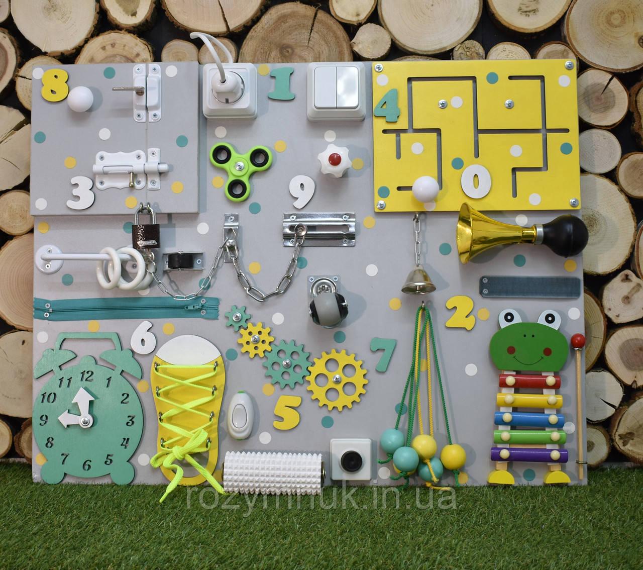 Развивающая доска Бизиборд размер 50*65  Лучший подарок бізіборд busyboard желто-мятный ксилофон